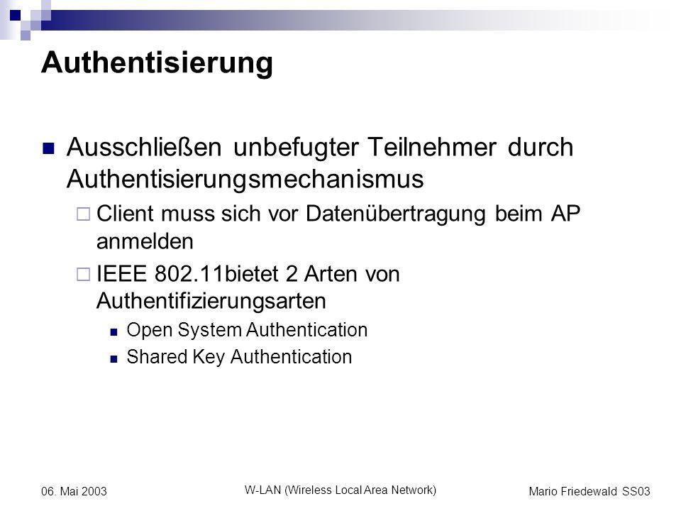 Mario Friedewald SS03 W-LAN (Wireless Local Area Network) 06. Mai 2003 Authentisierung Ausschließen unbefugter Teilnehmer durch Authentisierungsmechan
