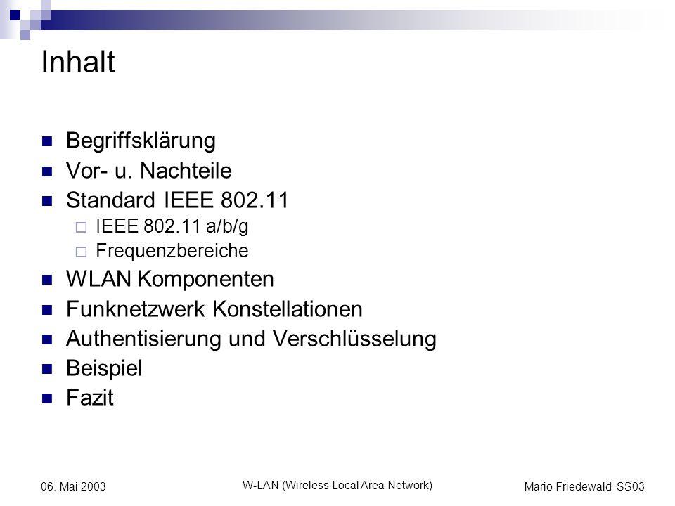Mario Friedewald SS03 W-LAN (Wireless Local Area Network) 06. Mai 2003 Inhalt Begriffsklärung Vor- u. Nachteile Standard IEEE 802.11 IEEE 802.11 a/b/g