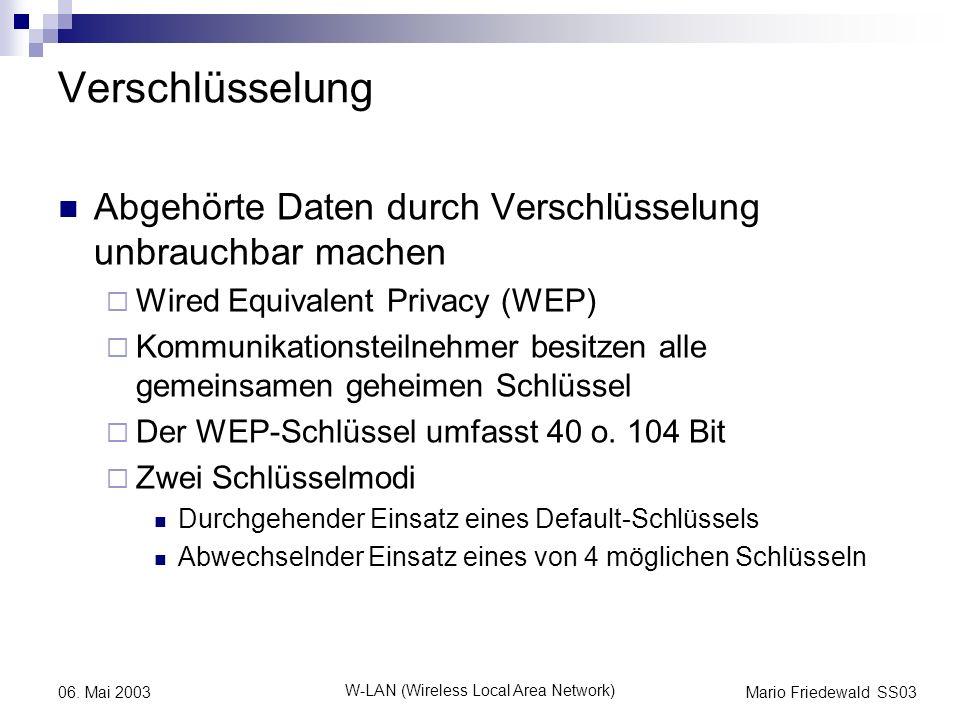 Mario Friedewald SS03 W-LAN (Wireless Local Area Network) 06. Mai 2003 Verschlüsselung Abgehörte Daten durch Verschlüsselung unbrauchbar machen Wired