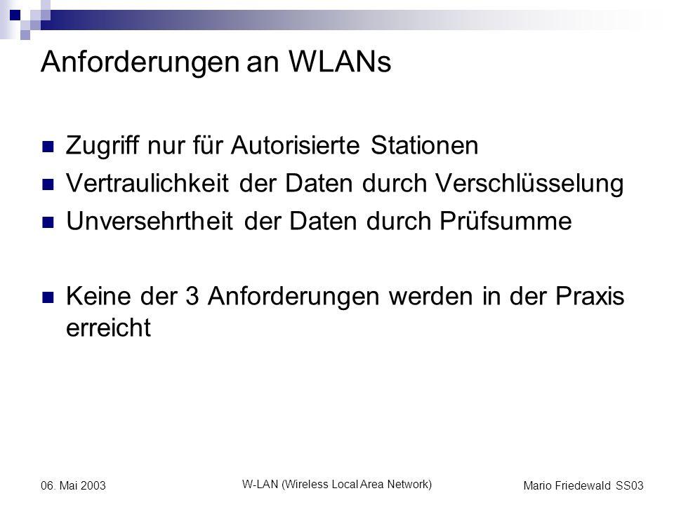 Mario Friedewald SS03 W-LAN (Wireless Local Area Network) 06. Mai 2003 Anforderungen an WLANs Zugriff nur für Autorisierte Stationen Vertraulichkeit d