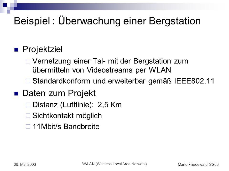 Mario Friedewald SS03 W-LAN (Wireless Local Area Network) 06. Mai 2003 Beispiel : Überwachung einer Bergstation Projektziel Vernetzung einer Tal- mit