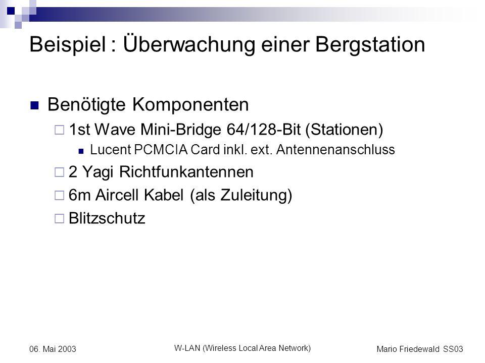 Mario Friedewald SS03 W-LAN (Wireless Local Area Network) 06. Mai 2003 Beispiel : Überwachung einer Bergstation Benötigte Komponenten 1st Wave Mini-Br