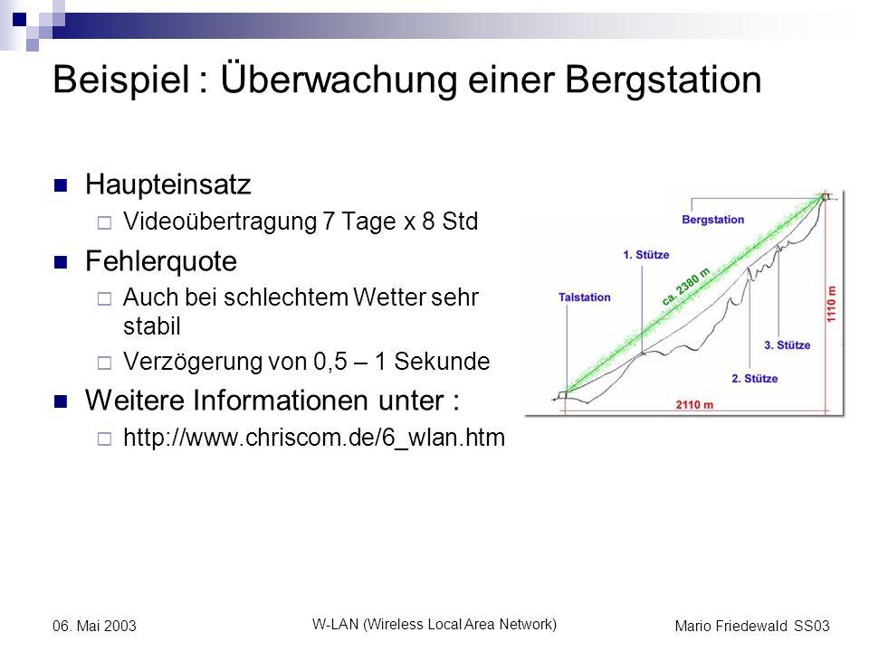 Mario Friedewald SS03 W-LAN (Wireless Local Area Network) 06. Mai 2003 Beispiel : Überwachung einer Bergstation Haupteinsatz Videoübertragung 7 Tage x