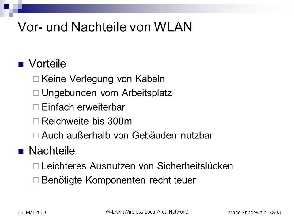 Mario Friedewald SS03 W-LAN (Wireless Local Area Network) 06. Mai 2003 Vor- und Nachteile von WLAN Vorteile Keine Verlegung von Kabeln Ungebunden vom
