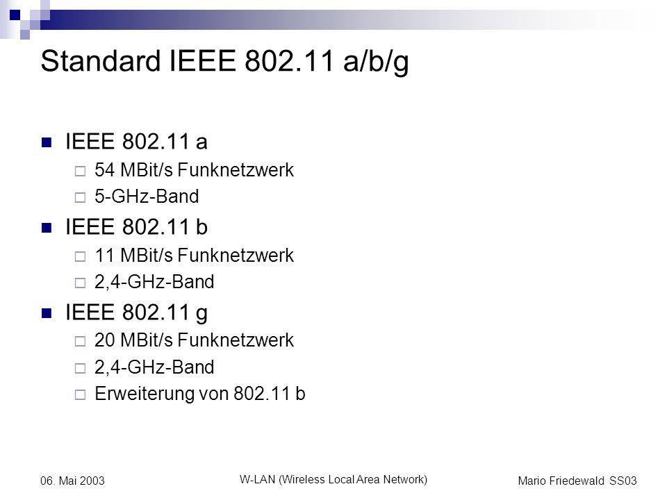 Mario Friedewald SS03 W-LAN (Wireless Local Area Network) 06. Mai 2003 Standard IEEE 802.11 a/b/g IEEE 802.11 a 54 MBit/s Funknetzwerk 5-GHz-Band IEEE