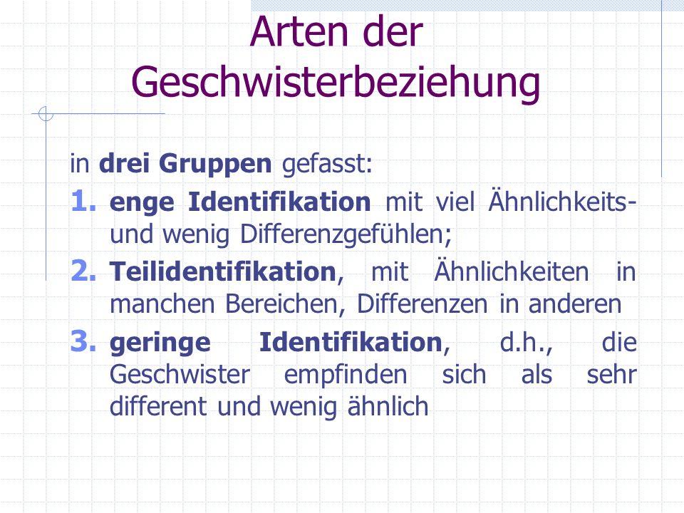 2.2 Arten der Geschwisterbeziehung Stephen P. Bank und Michael D. Kahn: Ähnlichkeit und Differenz in acht verschiedenen Hauptidentifikationsmustern zw