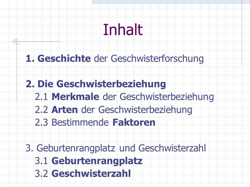 Inhalt 1.Geschichte der Geschwisterforschung 2.