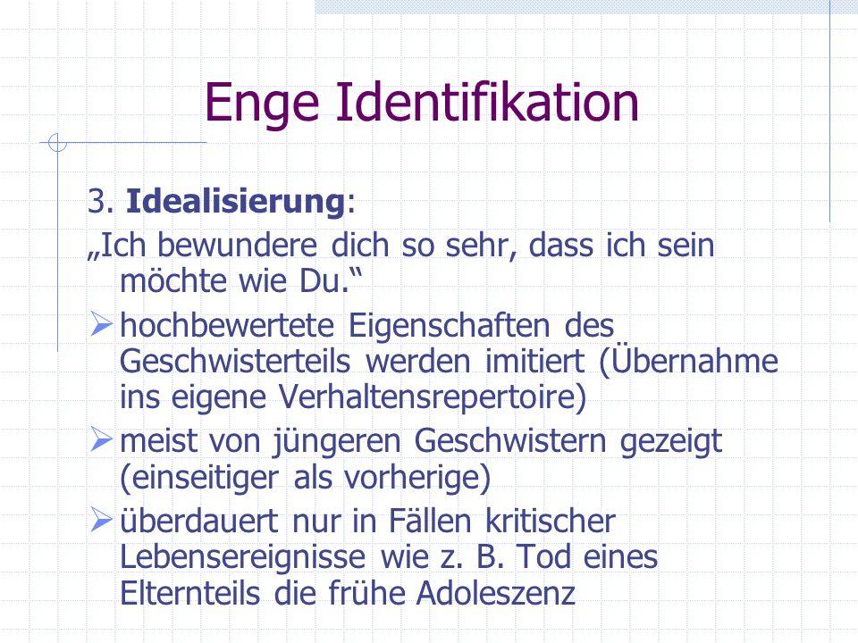 Enge Identifikation 2. Verschmelzen: Ich weiß nicht genau, wer ich bin. Vielleicht kann ich Du sein. Man möchte seine eigene Identität erkennen und le