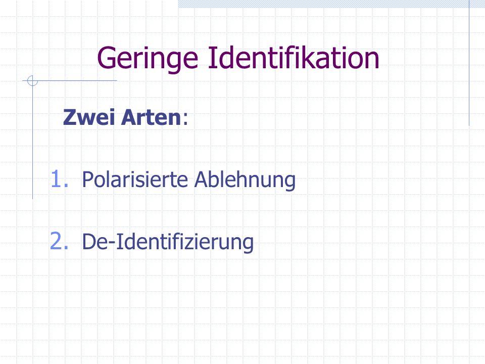 2.2.3 Geringe Identifikation Bei Teilidentifikation besteht gewisse Form der Abhängigkeit (ob angemessen oder nicht). Bei geringer Identifikation herr