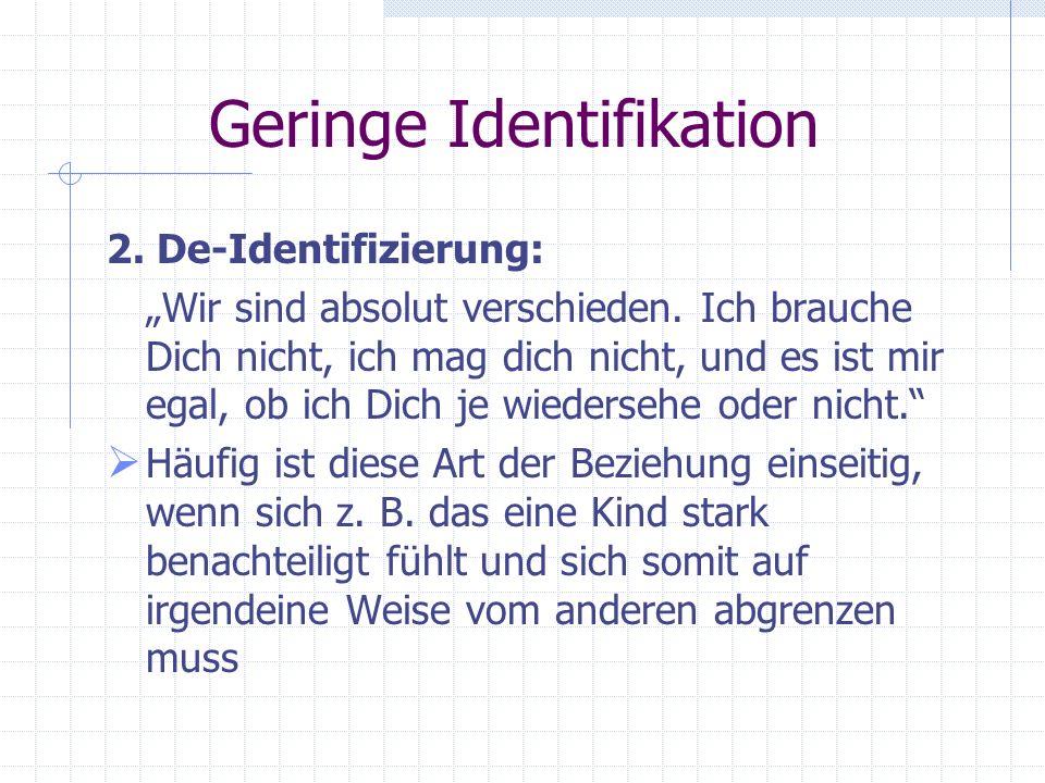 Geringe Identifikation Verhaltensweisen werden aufrechterhalten, um anders als das verhasse Geschwisterteil zu sein. Sehr starre Beziehung, äußerst sc