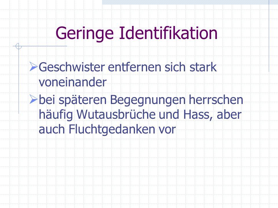 Geringe Identifikation 2. De-Identifizierung: Wir sind absolut verschieden. Ich brauche Dich nicht, ich mag dich nicht, und es ist mir egal, ob ich Di