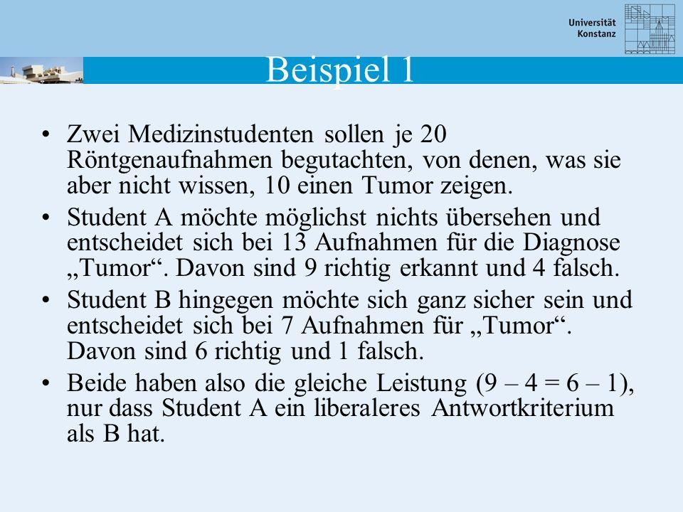 Beispiel 2 Die Teilnehmer versuchen zu erkennen, ob die Wörter bekannt sind oder nicht (alt/neu).