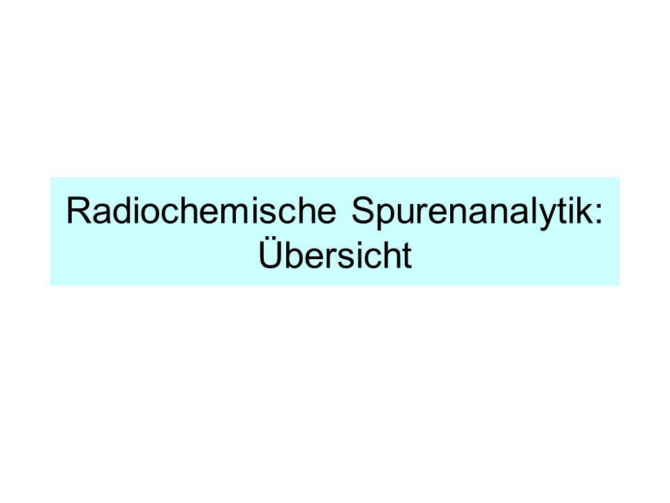 Radiochemische Spurenanalytik: Übersicht