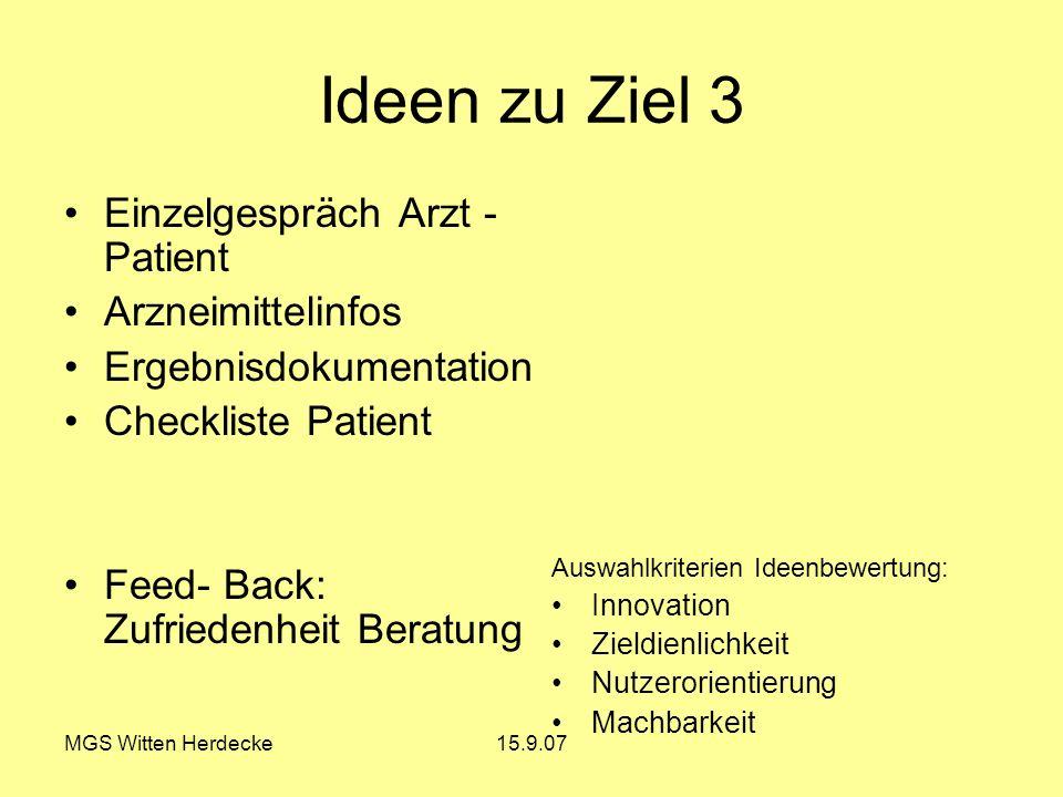 MGS Witten Herdecke15.9.07 Ideen zu Ziel 3 Einzelgespräch Arzt - Patient Arzneimittelinfos Ergebnisdokumentation Checkliste Patient Feed- Back: Zufrie