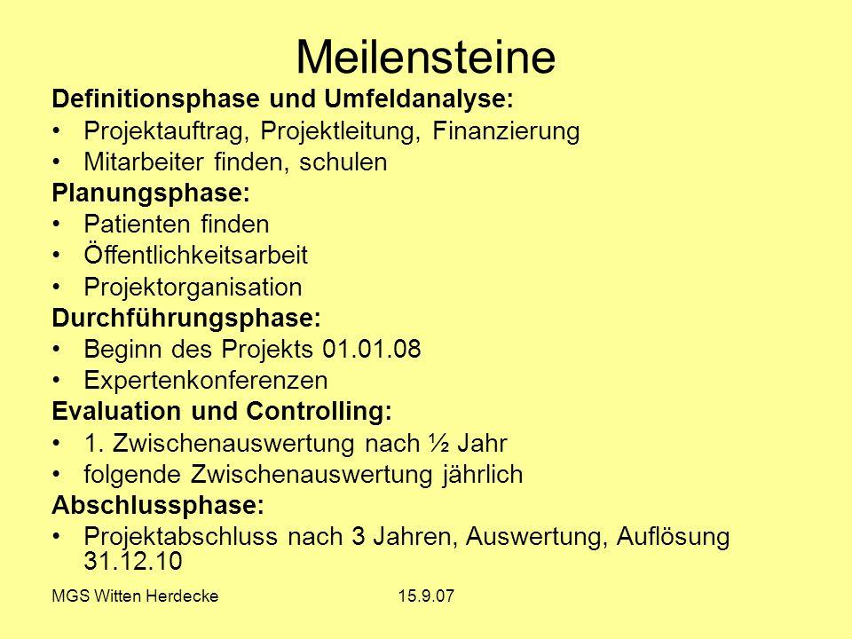 MGS Witten Herdecke15.9.07 Meilensteine Definitionsphase und Umfeldanalyse: Projektauftrag, Projektleitung, Finanzierung Mitarbeiter finden, schulen P