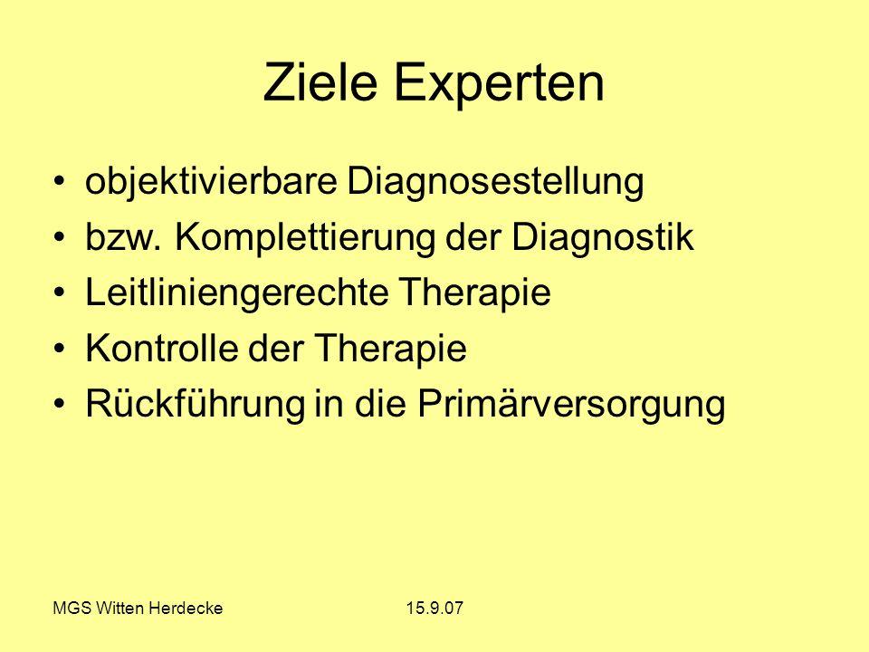 MGS Witten Herdecke15.9.07 Ziele Experten objektivierbare Diagnosestellung bzw. Komplettierung der Diagnostik Leitliniengerechte Therapie Kontrolle de
