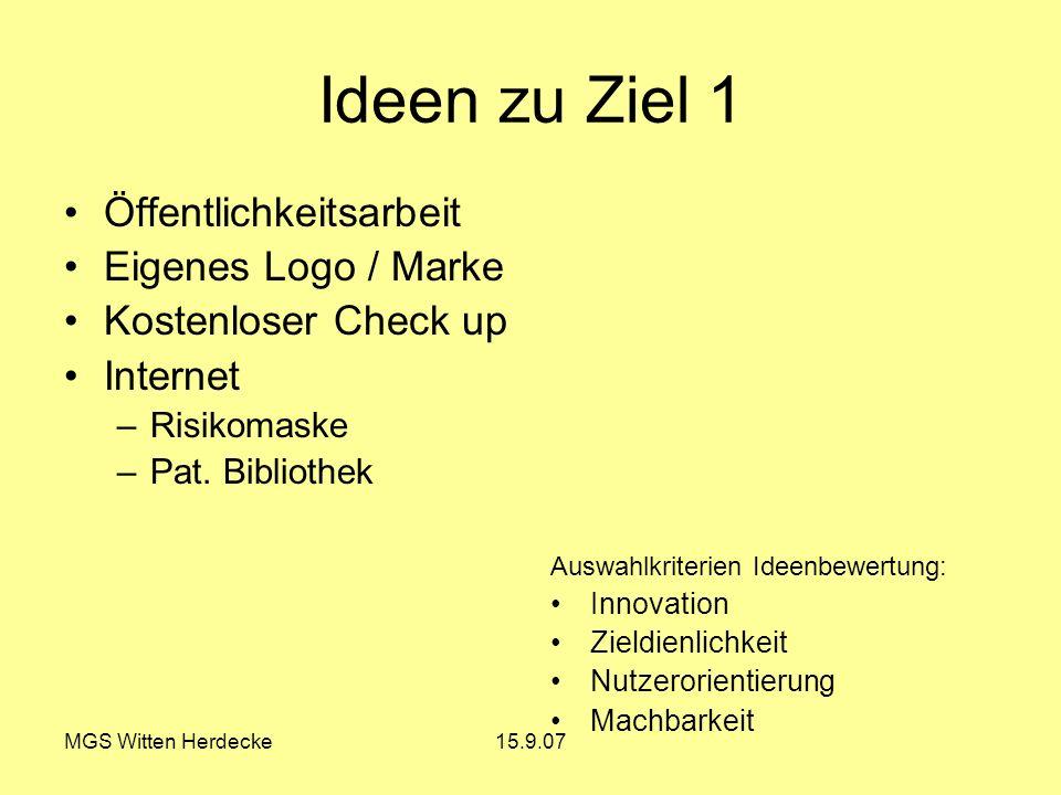 MGS Witten Herdecke15.9.07 Ideen zu Ziel 1 Öffentlichkeitsarbeit Eigenes Logo / Marke Kostenloser Check up Internet –Risikomaske –Pat. Bibliothek Ausw