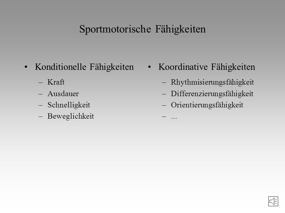 Bedingungen sportlicher Leistung A) apersonale Bedingungen (nicht in der Person liegend) B) personale Bedingungen: Darunter fallen psychische, intelle
