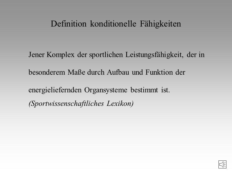 Sportmotorische Fähigkeiten Konditionelle Fähigkeiten –Kraft –Ausdauer –Schnelligkeit –Beweglichkeit Koordinative Fähigkeiten –Rhythmisierungsfähigkei