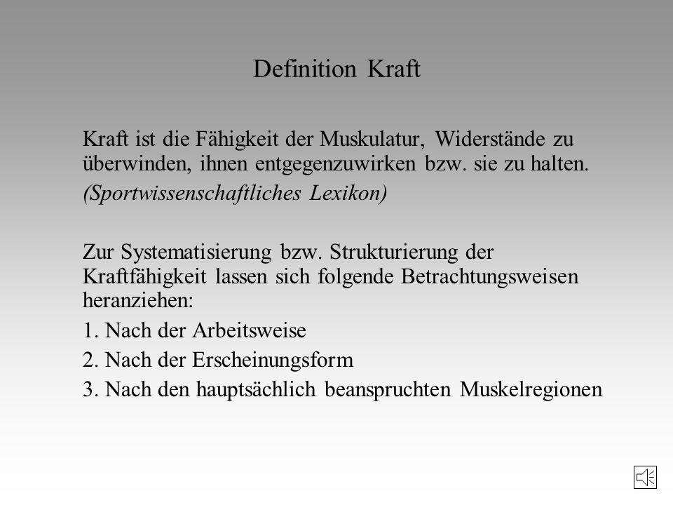 Literaturhinweise zum Krafttraining (III) Letzelter, H./Letzelter, M.: Krafttraining. Reinbeck, 1990. Schmidtbleicher, D./Gollhofer, A.: Einflussgröße