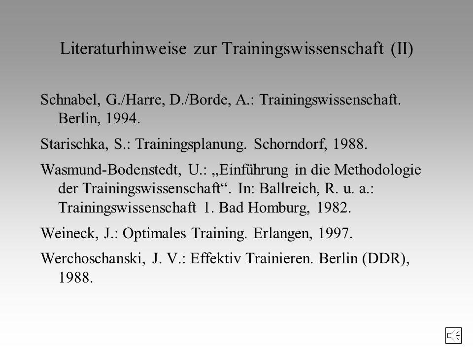 Literaturhinweise zur Trainingswissenschaft Carl, K.: Training und Trainingslehre in Deutschland. Schorndorf, 1983. Grosser, M.: Training der konditio