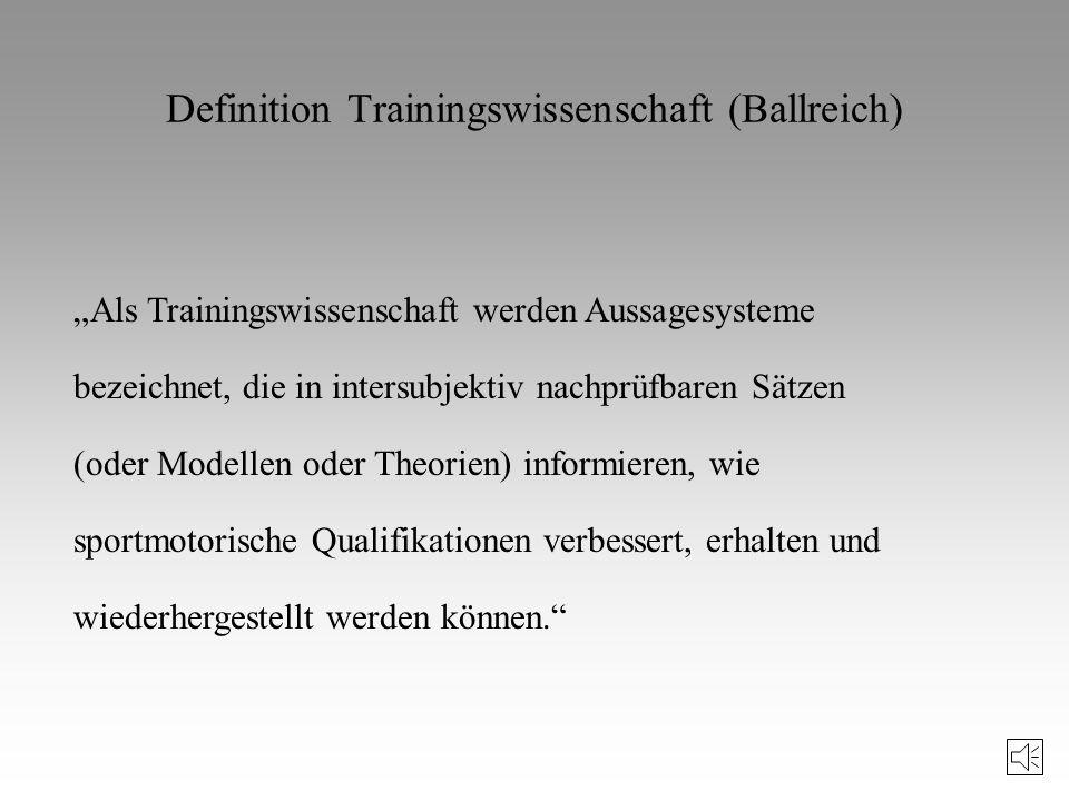 Literaturhinweise zur Trainingswissenschaft (II) Schnabel, G./Harre, D./Borde, A.: Trainingswissenschaft. Berlin, 1994. Starischka, S.: Trainingsplanu