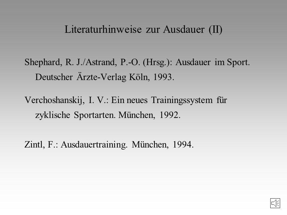 Literaturhinweise zur Ausdauer Dickhuth/Schlicht: Körperliche Aktivität in der Prävention von Herz-Kreislauf-Erkrankungen. In: Sportwissenschaft 1/199