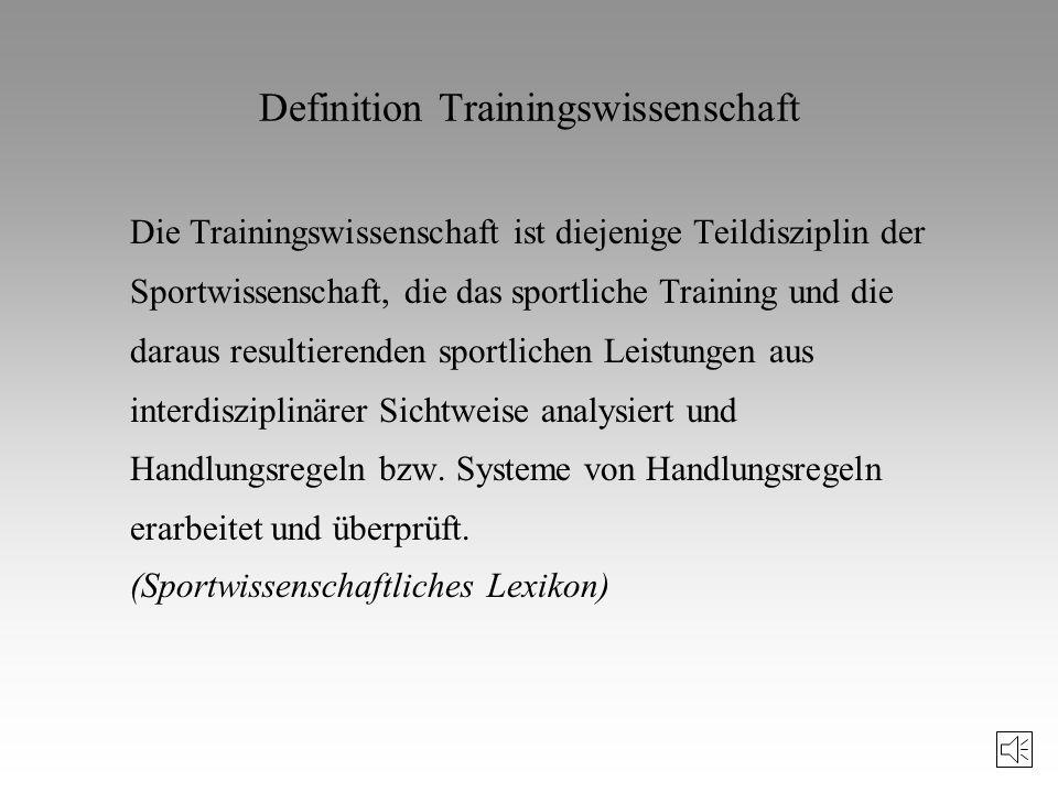 Als Trainingswissenschaft werden Aussagesysteme bezeichnet, die in intersubjektiv nachprüfbaren Sätzen (oder Modellen oder Theorien) informieren, wie