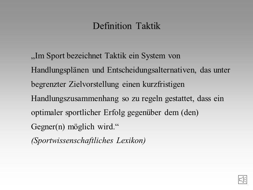 Literaturhinweise zur Taktik Mahlo, F.: Theoretische Probleme der taktischen Ausbildung in den Sportspielen. In: Theorie und Praxis der Körperkultur,