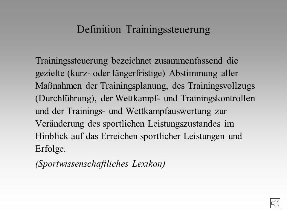 Literaturhinweise zur Trainingssteuerung Hohmann, A.: Grundlagen der Trainingssteuerung im Sportspiel. Ahrensburg, 1994. Letzelter, H./Letzelter, M.: