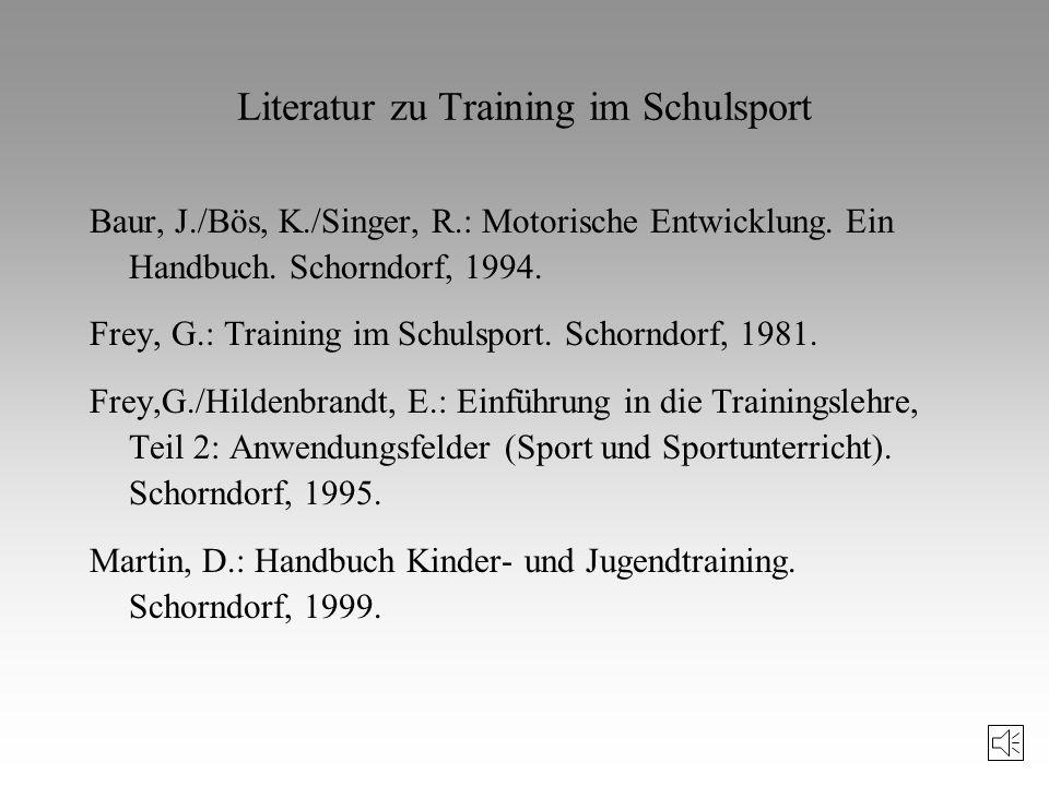 Fragen bzw. Aspekte, die im Zusammenhang mit Training und Schulsport relevant sind 1. Warum sollen Schüler überhaupt trainieren? 2. Was soll trainiert