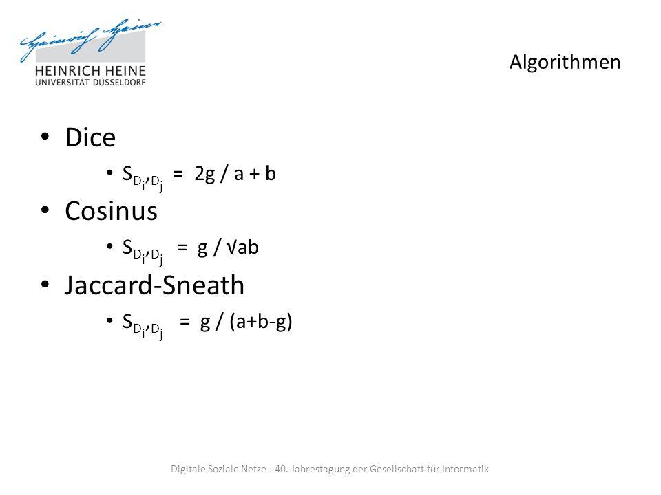 Algorithmen Dice S D i, D j = 2g / a + b Cosinus S D i, D j = g / ab Jaccard-Sneath S D i, D j = g / (a+b-g) Digitale Soziale Netze - 40. Jahrestagung