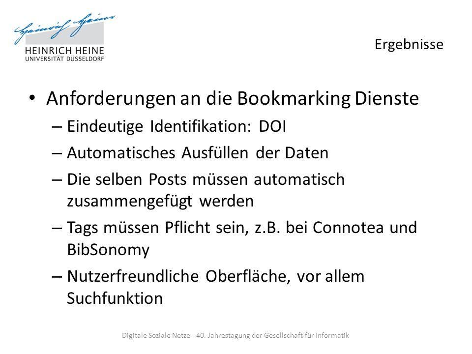 Ergebnisse Anforderungen an die Bookmarking Dienste – Eindeutige Identifikation: DOI – Automatisches Ausfüllen der Daten – Die selben Posts müssen aut