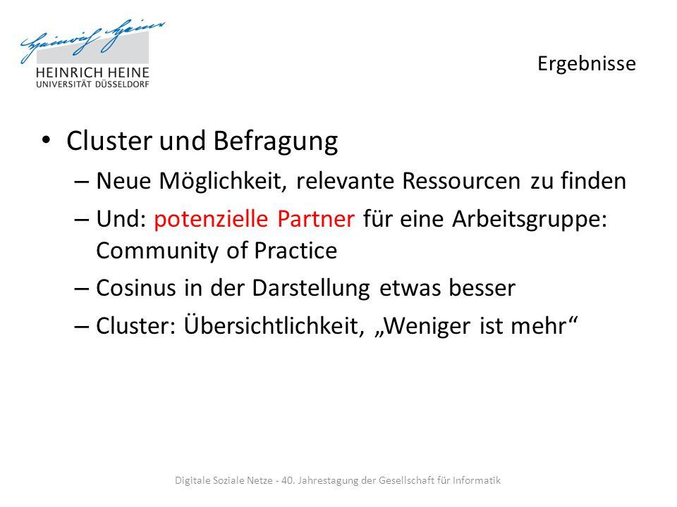 Ergebnisse Cluster und Befragung – Neue Möglichkeit, relevante Ressourcen zu finden – Und: potenzielle Partner für eine Arbeitsgruppe: Community of Pr