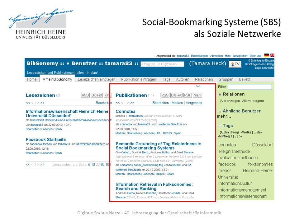 Social-Bookmarking Systeme (SBS) als Soziale Netzwerke Ressourcen desktop-unabhängig speichern: – Favoriten: Literatur, Links Vergabe von Schlagworten (Tags), die Summe einer Folksonomy – Verbindung zw.
