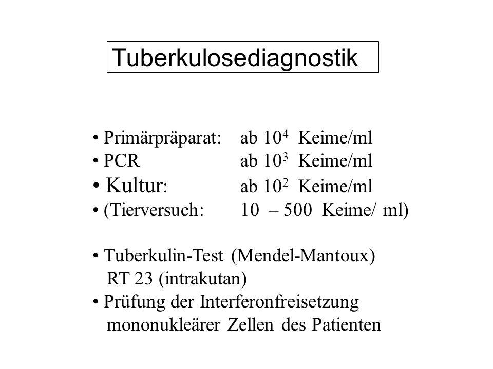 Tuberkulosediagnostik Primärpräparat: ab 10 4 Keime/ml PCRab 10 3 Keime/ml Kultur :ab 10 2 Keime/ml (Tierversuch:10 – 500 Keime/ ml) Tuberkulin-Test (