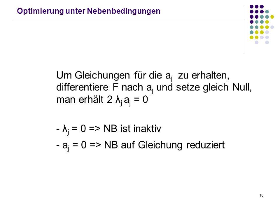 10 Optimierung unter Nebenbedingungen Um Gleichungen für die a j zu erhalten, differentiere F nach a j und setze gleich Null, man erhält 2 λ j a j = 0