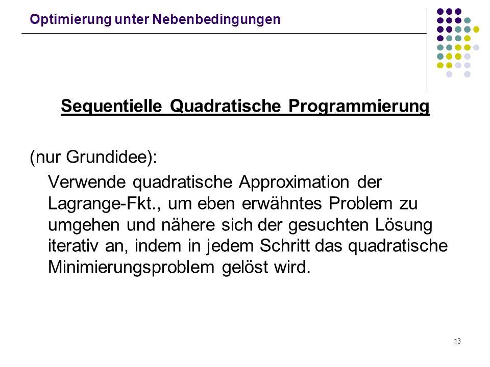 13 Optimierung unter Nebenbedingungen Sequentielle Quadratische Programmierung (nur Grundidee): Verwende quadratische Approximation der Lagrange-Fkt.,