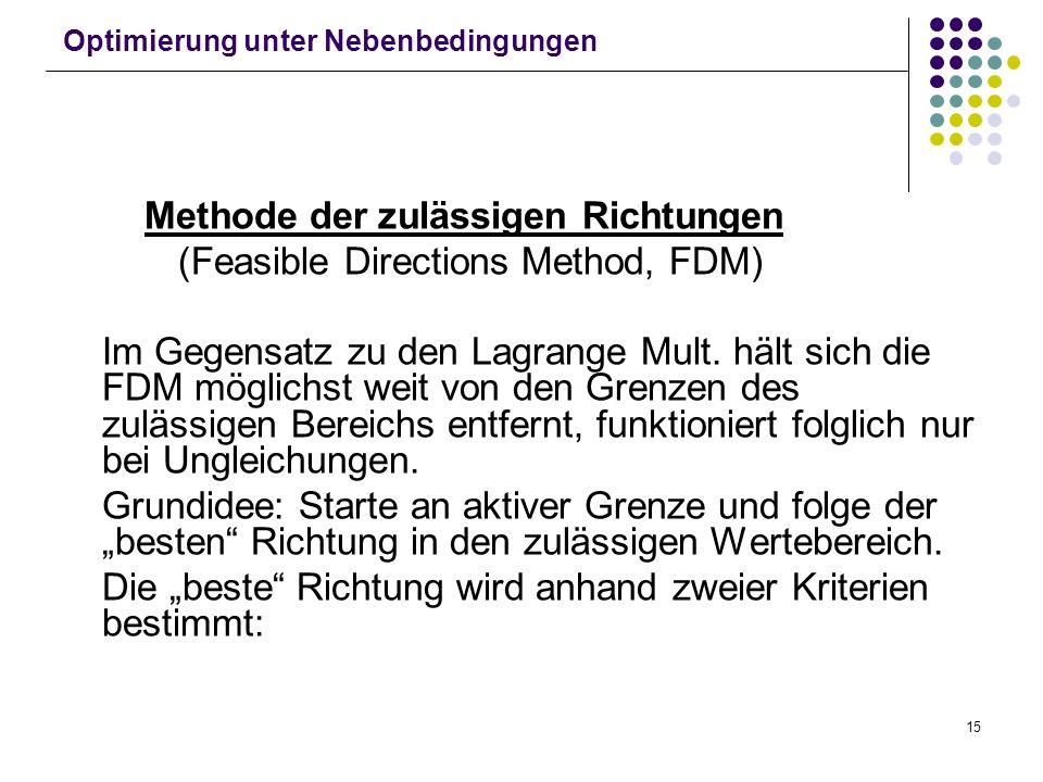 15 Optimierung unter Nebenbedingungen Methode der zulässigen Richtungen (Feasible Directions Method, FDM) Im Gegensatz zu den Lagrange Mult. hält sich