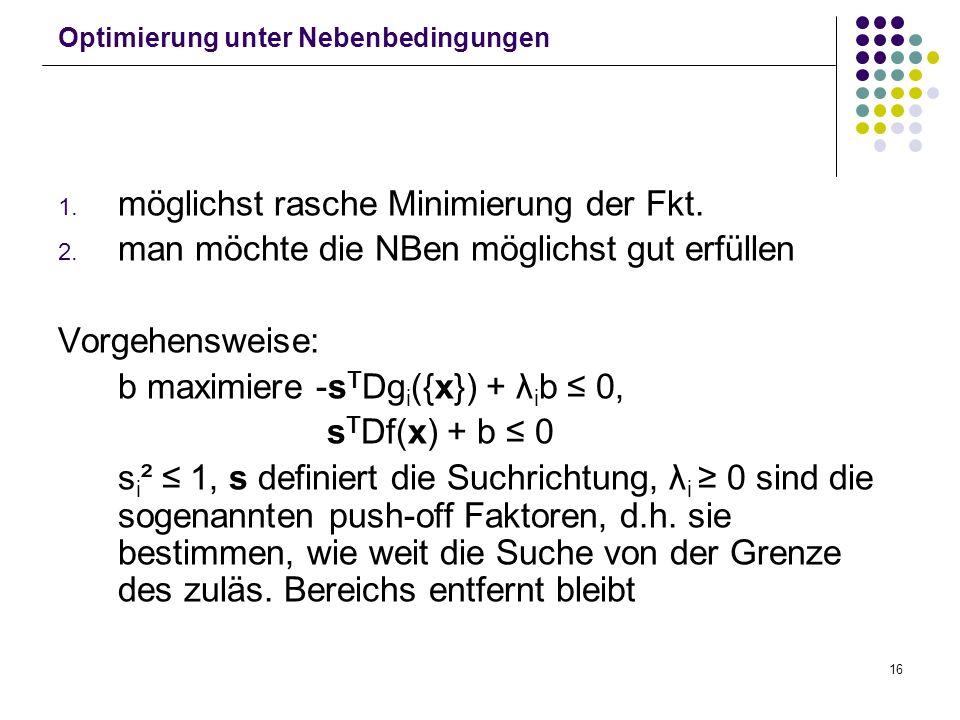 16 Optimierung unter Nebenbedingungen 1. möglichst rasche Minimierung der Fkt. 2. man möchte die NBen möglichst gut erfüllen Vorgehensweise: b maximie