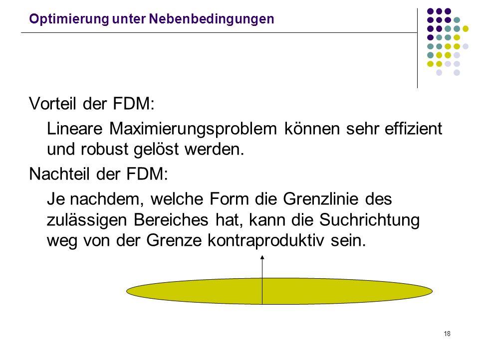 18 Optimierung unter Nebenbedingungen Vorteil der FDM: Lineare Maximierungsproblem können sehr effizient und robust gelöst werden. Nachteil der FDM: J