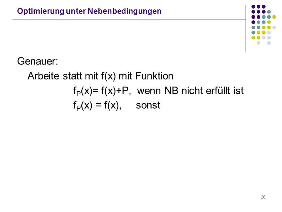 20 Optimierung unter Nebenbedingungen Genauer: Arbeite statt mit f(x) mit Funktion f P (x)= f(x)+P, wenn NB nicht erfüllt ist f P (x) = f(x), sonst