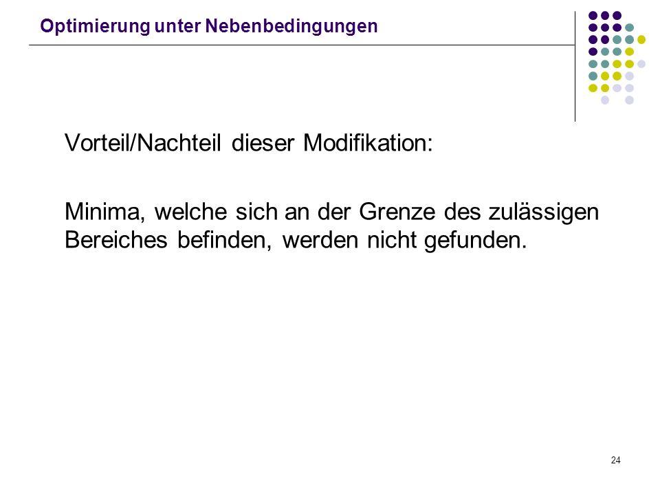 24 Optimierung unter Nebenbedingungen Vorteil/Nachteil dieser Modifikation: Minima, welche sich an der Grenze des zulässigen Bereiches befinden, werde