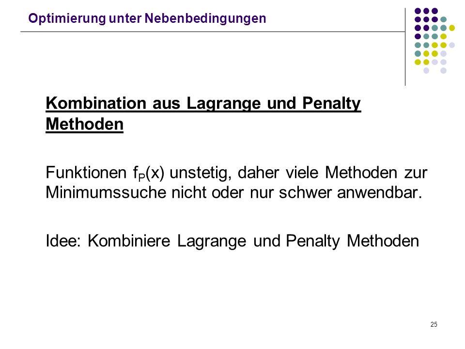 25 Optimierung unter Nebenbedingungen Kombination aus Lagrange und Penalty Methoden Funktionen f P (x) unstetig, daher viele Methoden zur Minimumssuch