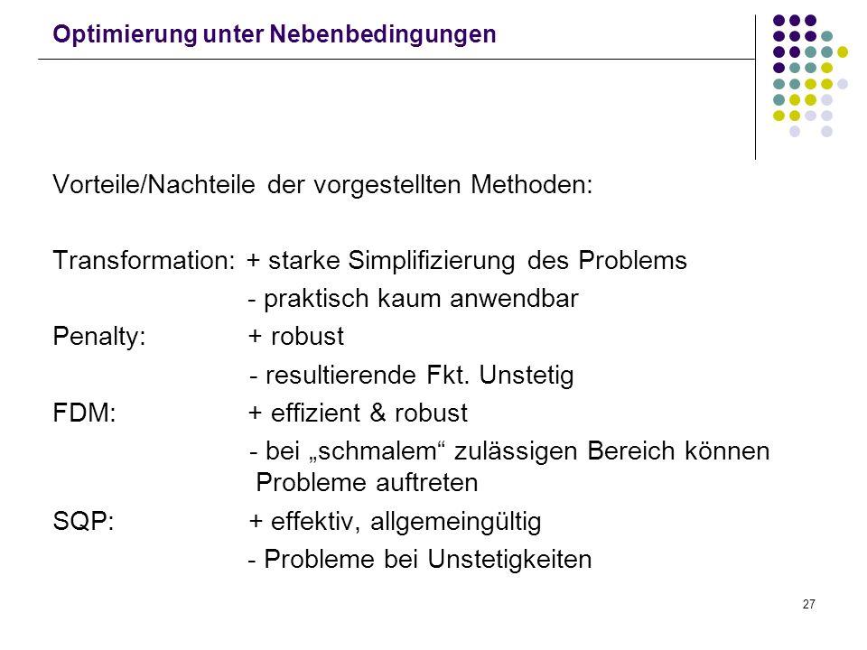 27 Optimierung unter Nebenbedingungen Vorteile/Nachteile der vorgestellten Methoden: Transformation: + starke Simplifizierung des Problems - praktisch