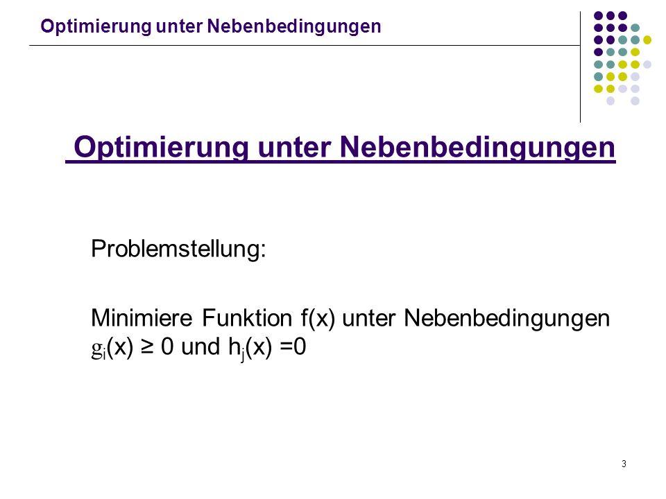 3 Optimierung unter Nebenbedingungen Problemstellung: Minimiere Funktion f(x) unter Nebenbedingungen g i (x) 0 und h j (x) =0