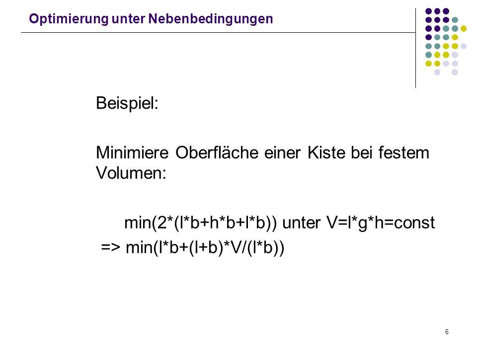 6 Optimierung unter Nebenbedingungen Beispiel: Minimiere Oberfläche einer Kiste bei festem Volumen: min(2*(l*b+h*b+l*b)) unter V=l*g*h=const => min(l*