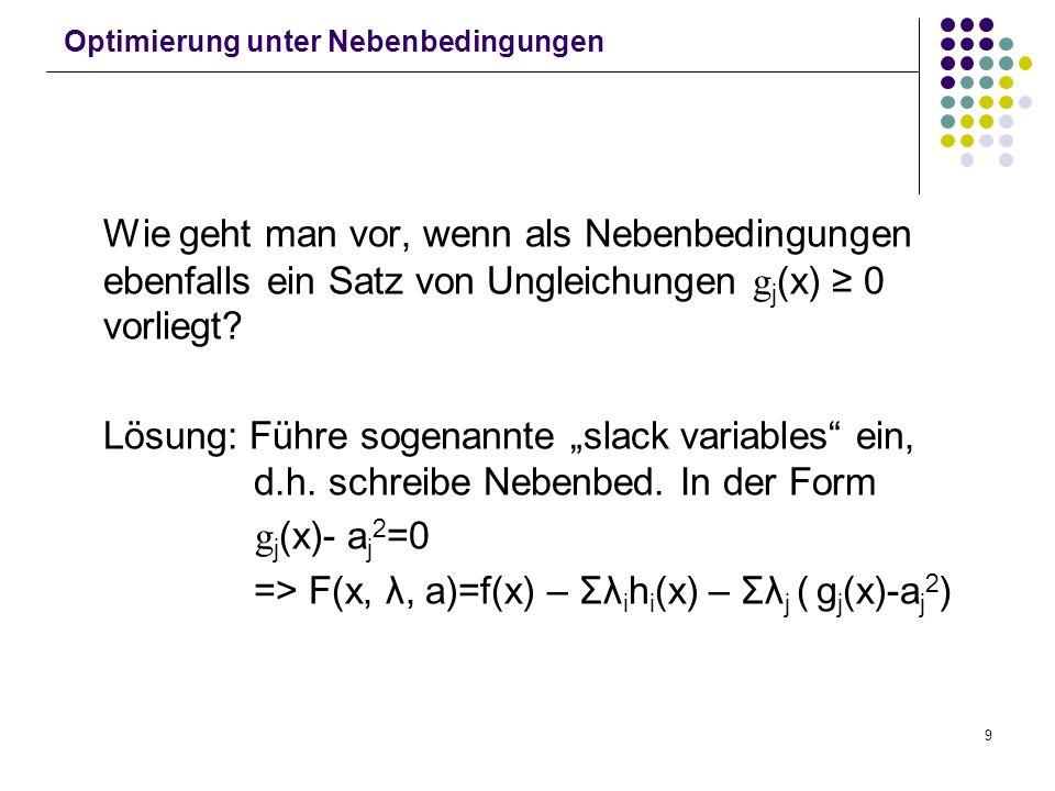 9 Optimierung unter Nebenbedingungen Wie geht man vor, wenn als Nebenbedingungen ebenfalls ein Satz von Ungleichungen g j (x) 0 vorliegt? Lösung: Führ