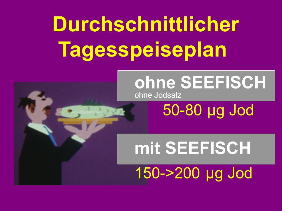 ohne SEEFISCH ohne Jodsalz 50-80 µg Jod mit SEEFISCH 150->200 µg Jod Durchschnittlicher Tagesspeiseplan