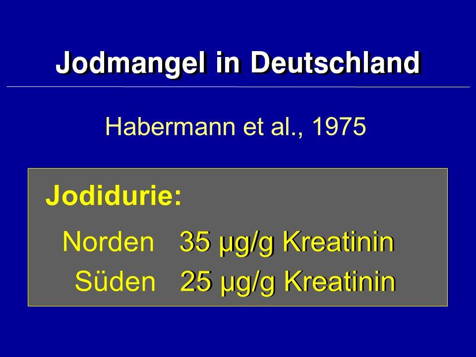 Habermann et al., 1975 Jodidurie: Norden ¸ 35 µg/g KreatininNorden 35 µg/g Kreatinin Süden ¸ 25 µg/g KreatininSüden 25 µg/g Kreatinin